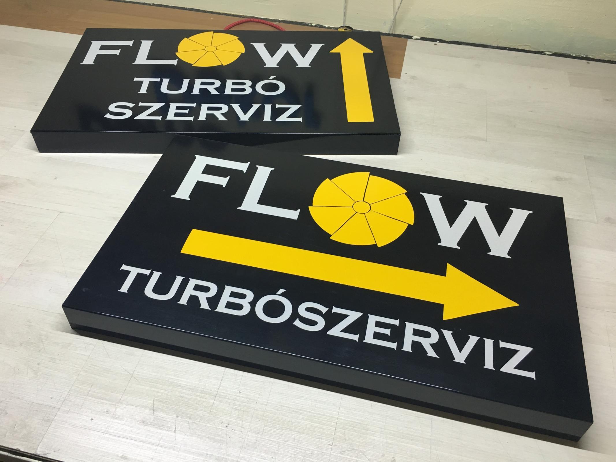 Flow Turbo Szerviz Reklámtáblái